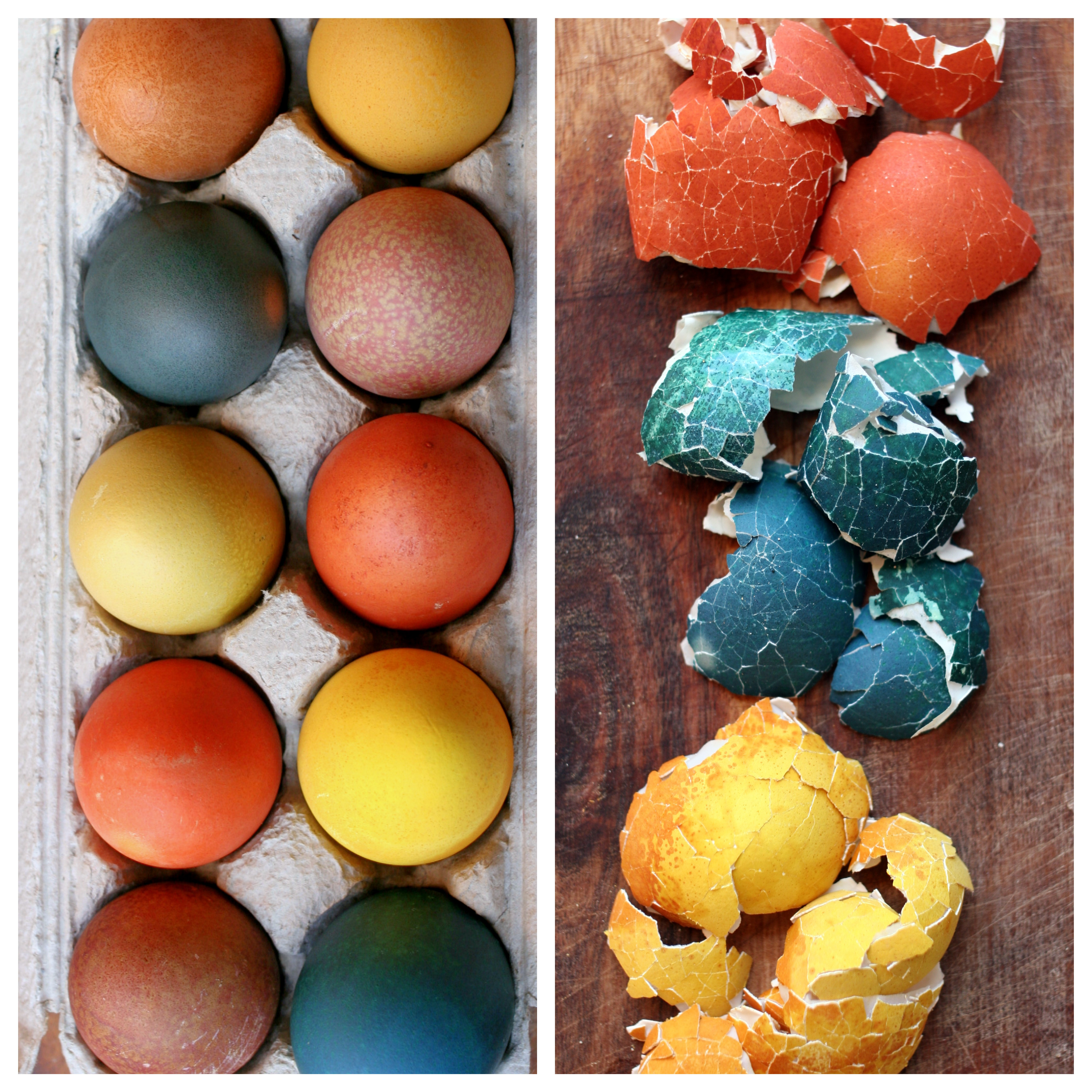 Naturally Dyed Easter Eggs - punctuated with food