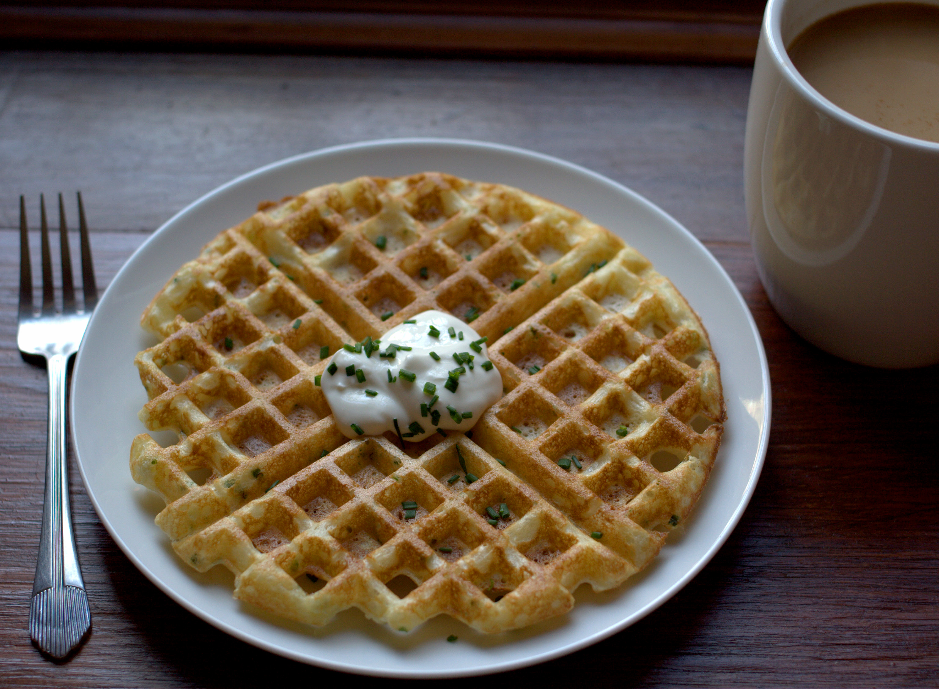 Sour Cream and Onion Yeasted Waffles | punctuated with food