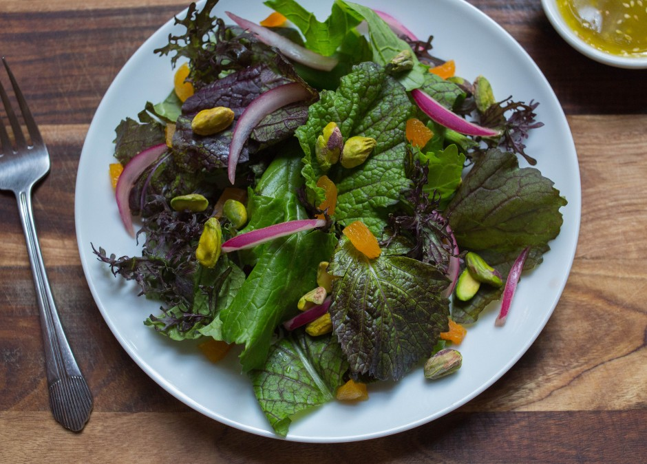 mustard greens salad + lime and za'atar dressing | punctuated with food
