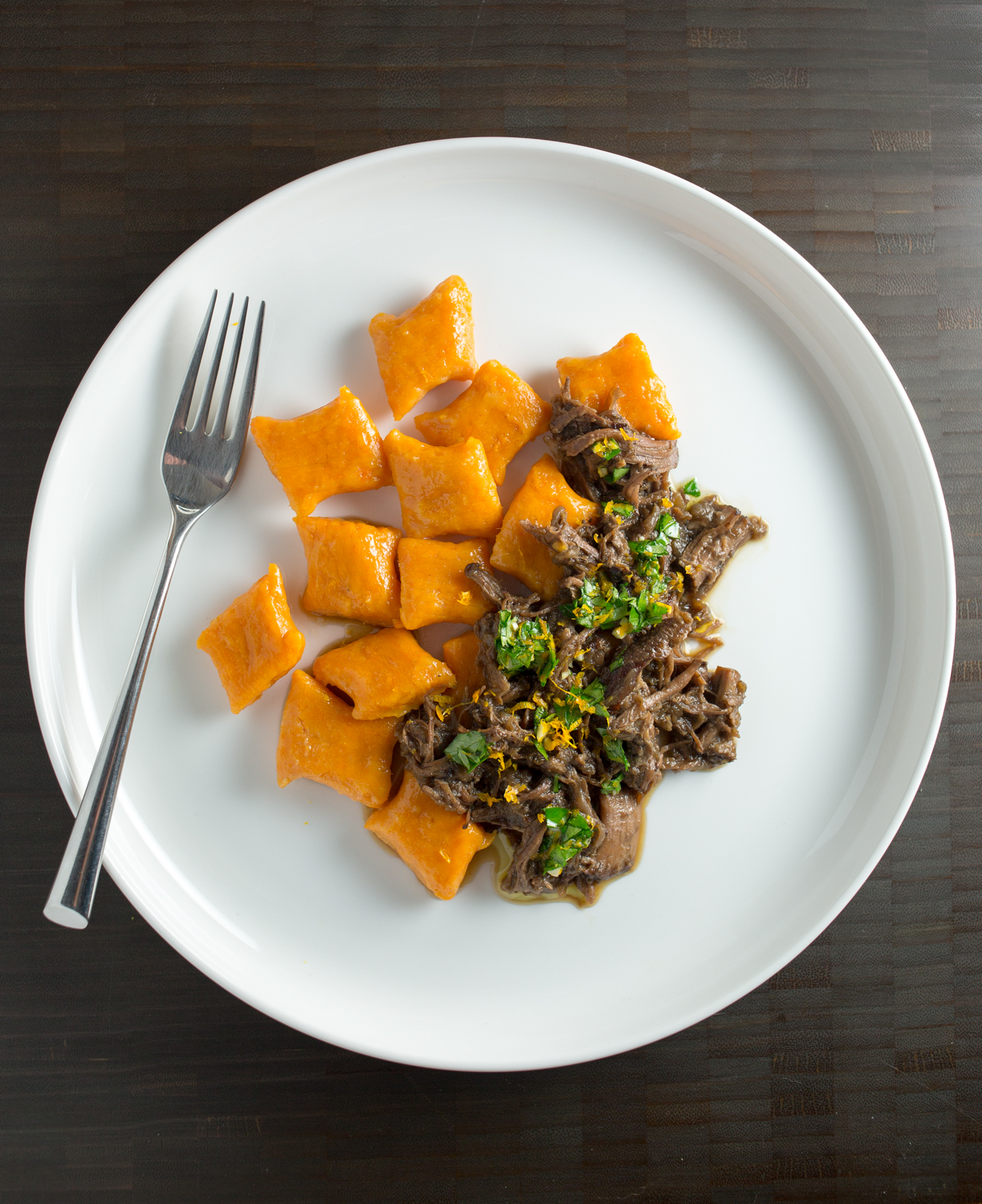 ... gnocchi with short ribs + orange gremolata | punctuated. with food