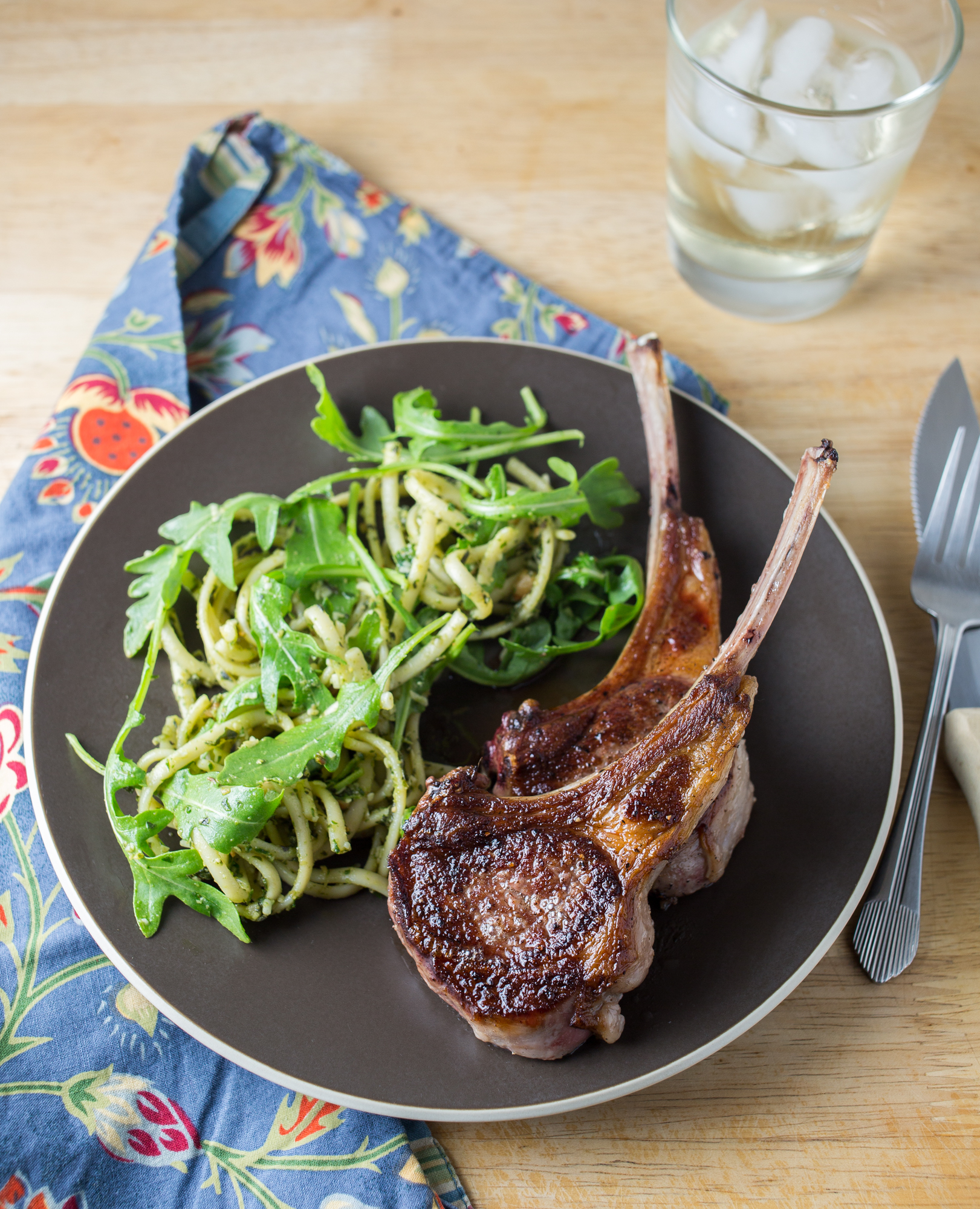 minty pasta salad with lamb rib chops