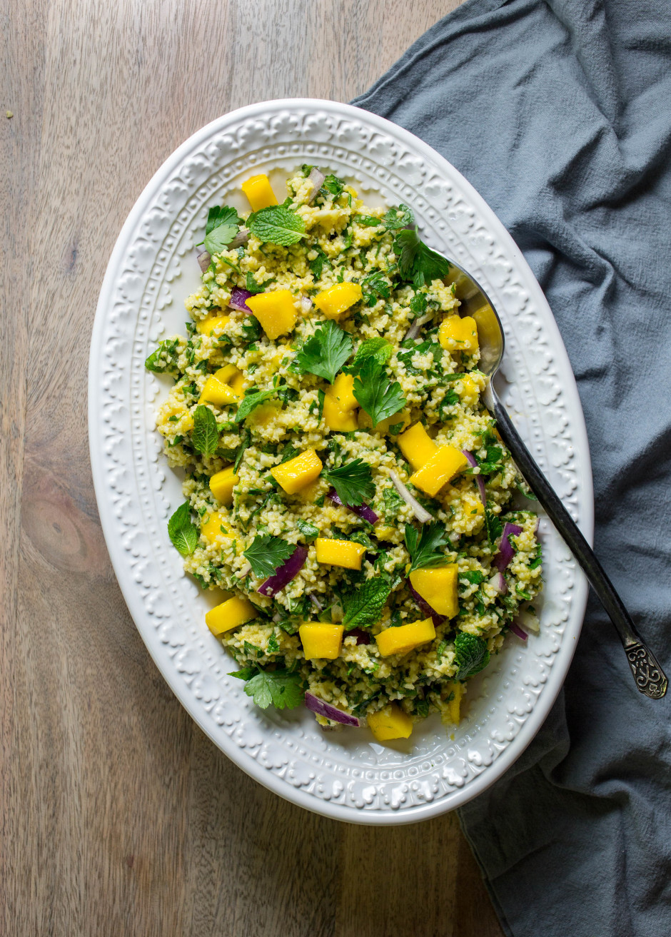 millet mango tabbouleh l punctuated. with food