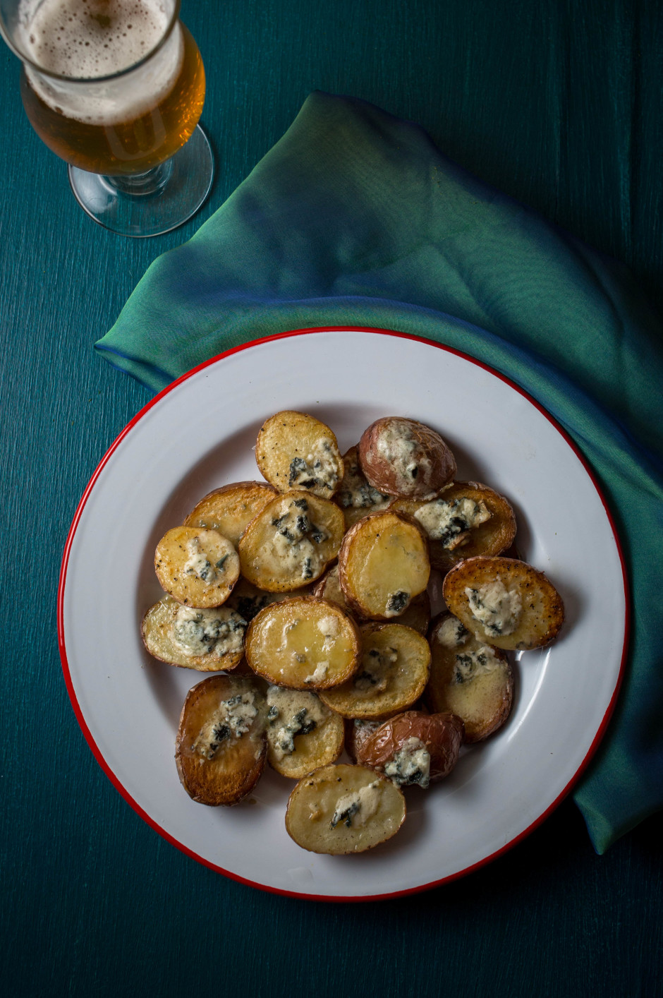 Roasted Potatoes with Arethusa Blue Cheese, paired with Wytchmaker Farmhouse Rye IPA