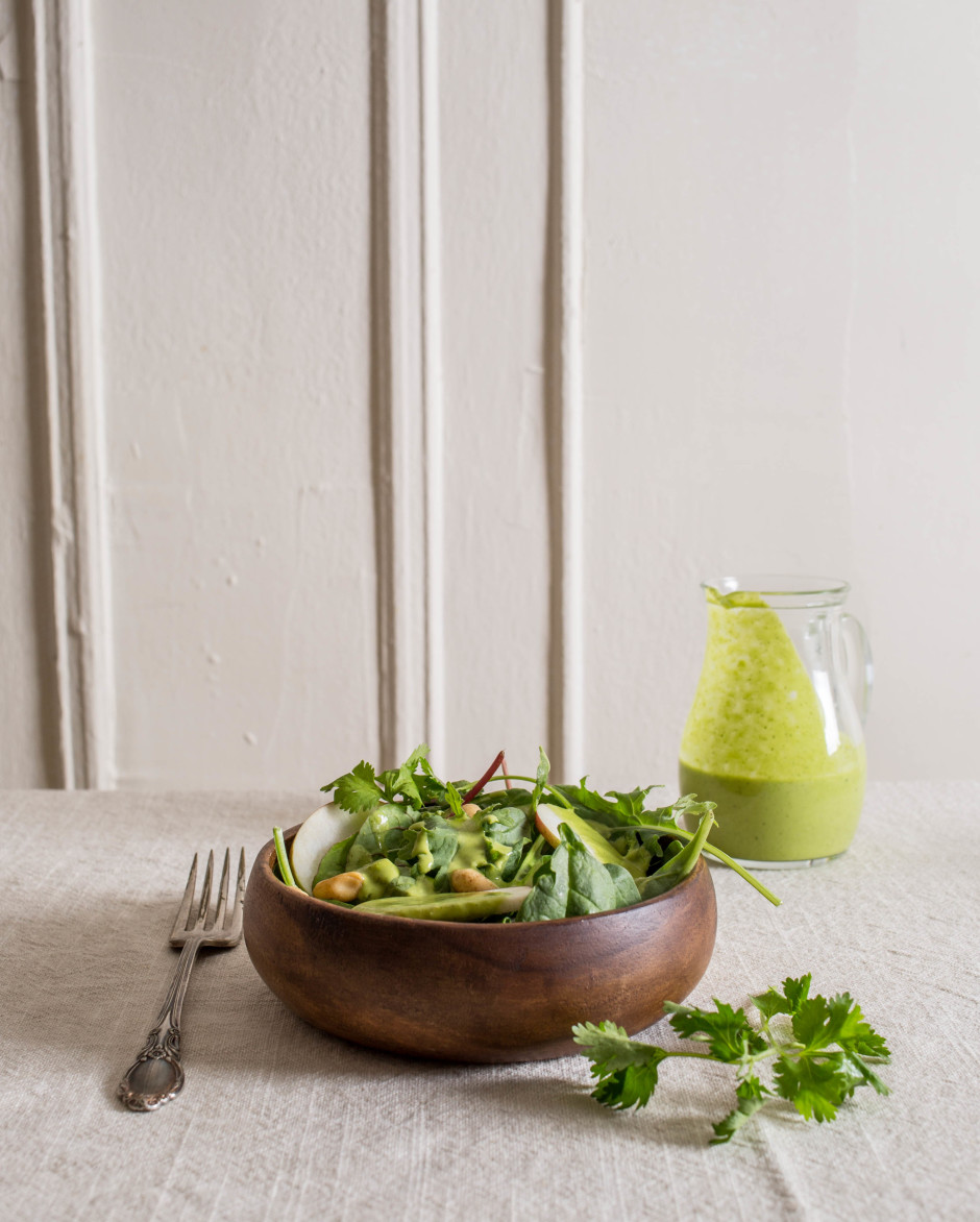 apple salad with cilantro dressing | punctuated. with food